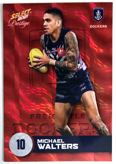 2021 AFL PRESTIGE ORANGE RED PARALLEL CARD- MICHAEL WALTERS FREMANTLE DOCKERS