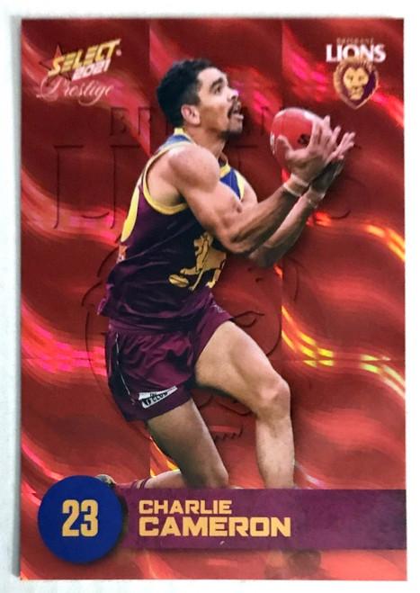 2021 AFL PRESTIGE ORANGE RED PARALLEL CARD- CHARLIE CAMERON BRISBANE LIONS