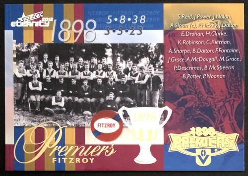 2012 AFL SELECT ETERNITY 1898 FITZROY LIONS PREMIERS CARD