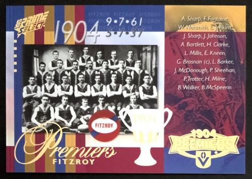 2013 AFL SELECT PRIME 1904 FITZROY LIONS PREMIERS CARD