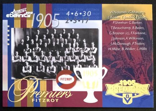 2012 AFL SELECT ETERNITY 1905 FITZROY LIONS PREMIERS CARD