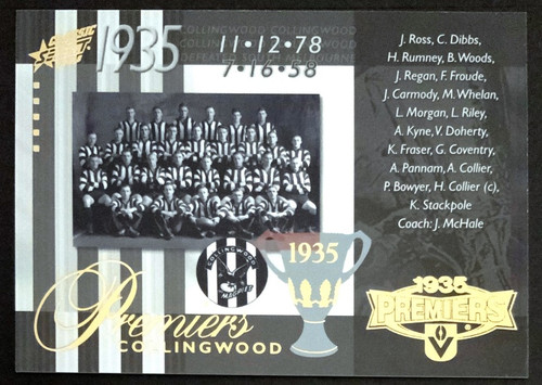 2008 AFL SELECT CLASSIC 1935 COLLINGWOOD MAGPIES PREMIERS CARD