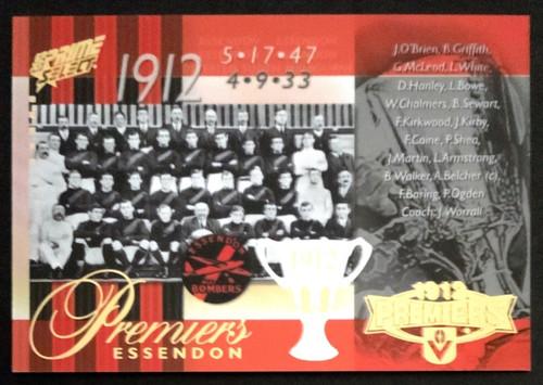 2013 AFL SELECT PRIME 1912 ESSENDON BOMBERS PREMIERS CARD