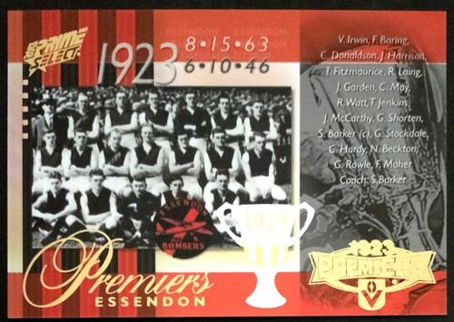2013 AFL SELECT PRIME 1923 ESSENDON BOMBERS PREMIERS CARD