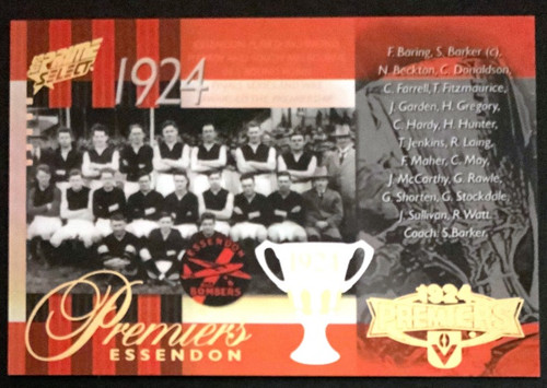 2013 AFL SELECT PRIME 1924 ESSENDON BOMBERS PREMIERS CARD