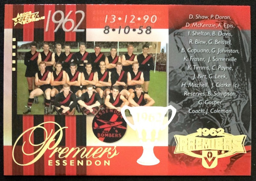 2006 AFL SELECT SUPREME 1962 ESSENDON BOMBERS PREMIERS CARD