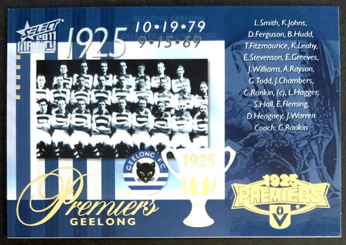 2011 AFL SELECT INFINITY 1925 GEELONG CATS PREMIERS CARD
