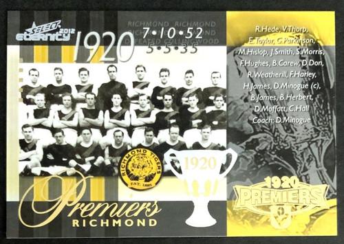 2012 AFL SELECT ETERNITY 1920 RICHMOND TIGERS PREMIERS CARD