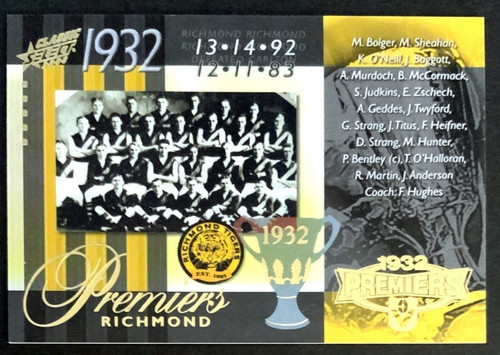 2008 AFL SELECT CLASSIC 1932 RICHMOND TIGERS PREMIERS CARD