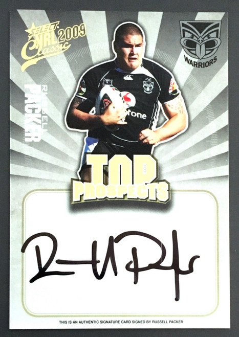 2009 NRL Select Classic RUSSELL PACKER NEW ZEALAND WARRIORS Top Prospects Signature Card
