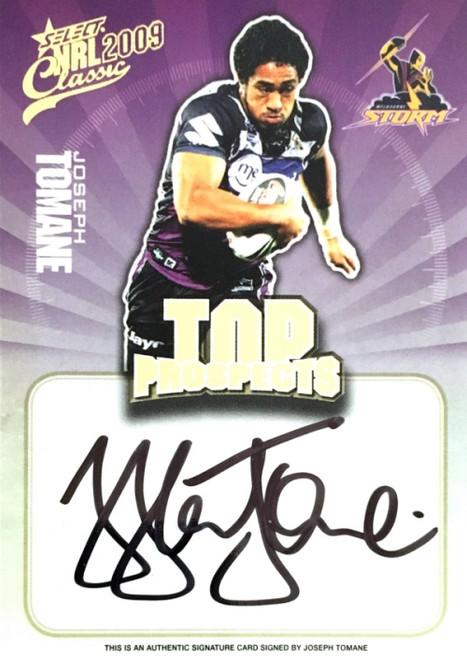 2009 NRL Select Classic JOSEPH TOMANE MELBOURNE STORM Top Prospects Signature Card