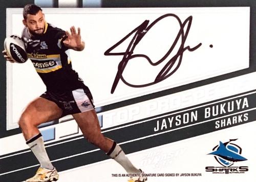 2012 NRL Select Dynasty JAYSON BUKUYA CRONULLA SHARKS Top Prospects Signature Card