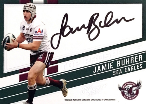 2012 NRL Select Dynasty JAMIE BUHRER MANLY SEA-EAGLES Top Prospects Signature Card