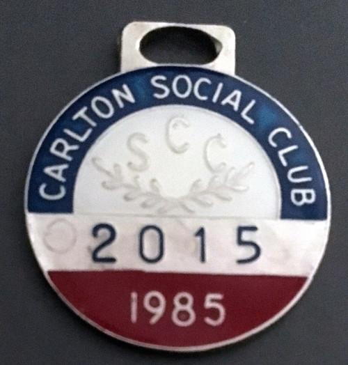 CARLTON SOCIAL CLUB MEMBERS MEDALLION 1985 SEASON