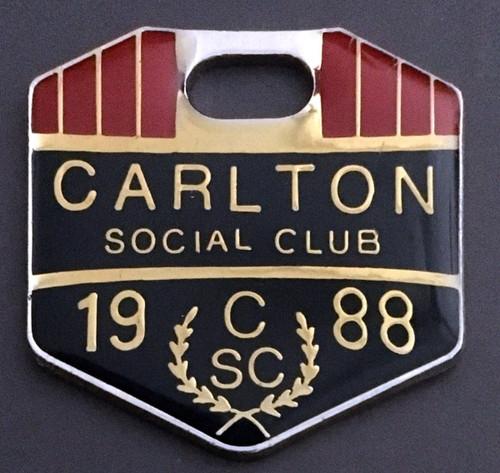 CARLTON SOCIAL CLUB MEMBERS MEDALLION 1988 SEASON