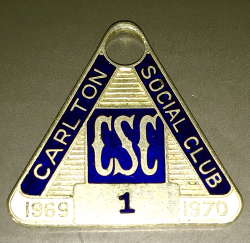 CARLTON SOCIAL CLUB MEMBERS MEDALLION 1969-70 SEASON NUMBER 1