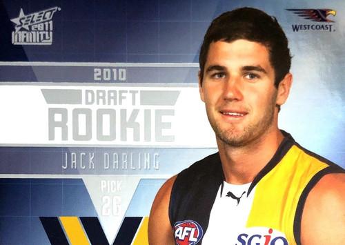 2011 Select AFL Infinity Rookie Card JACK DARLING West Coast Eagles