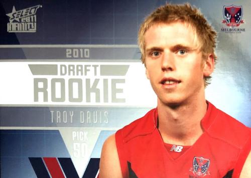 2011 Select AFL Infinity Rookie Card TROY DAVIS Melbourne Demons