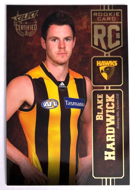2016 AFL Select Certified Rookie Card BLAKE HARDWICK Hawthorn Hawks