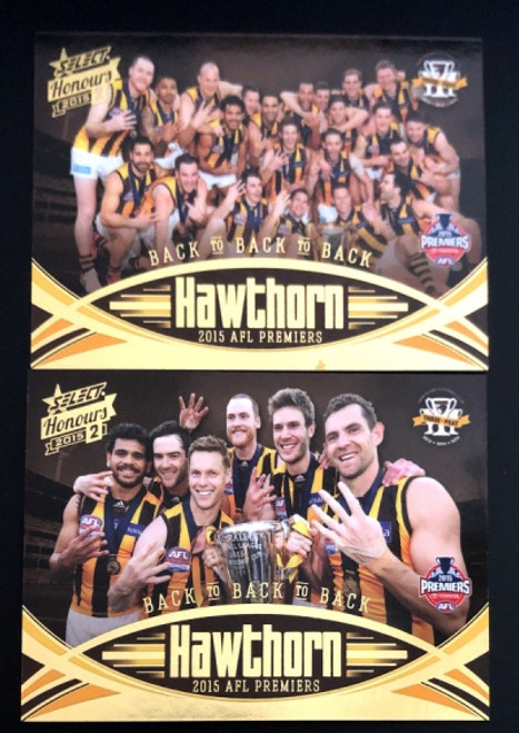 2015 AFL HONOURS 2 HAWTHORN HAWKS PREMIERSHIP CARD SET