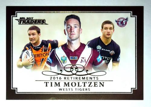 2017 NRL Traders 2016 Retirements TIM MOLTZEN Wests Tigers Card