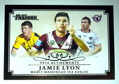 2017 NRL Traders 2016 Retirements JAMIE LYON Manly Sea-Eagles Card