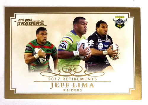 2018 NRL Traders 2017 Retirements JEFF LIMA Canberra Raiders card
