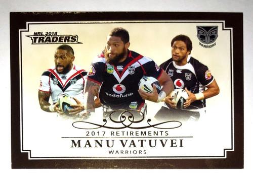 2018 NRL Traders 2017 Retirements MANU VATUVEI New Zealand Warriors Card