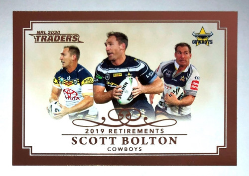2020 NRL Traders 2019 Retirements SCOTT BOLTON North Queensland Cowboys Card
