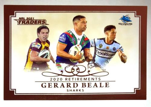 2020 NRL Traders 2019 Retirements GERARD BEALE Cronulla Sharks Card