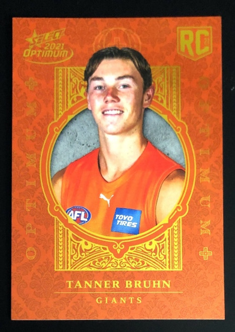 2021 AFL SELECT OPTIMUM PLUS Greater Western Sydney Giants TANNER BRUHN Rookie Card OP175