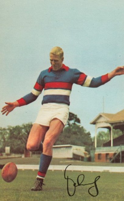 1965 Mobil Football Photos Card JOHN SCHULTZ Footscray Bulldogs