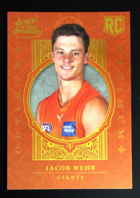 2021 AFL SELECT OPTIMUM PLUS Greater Western Sydney Giants JACOB WEHR Rookie Card OP222