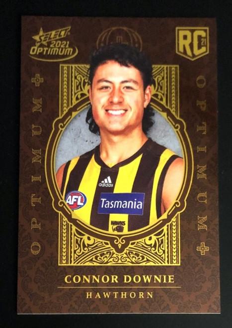 2021 AFL SELECT OPTIMUM PLUS Hawthorn Hawks CONNOR DOWNIE Rookie Card OP198