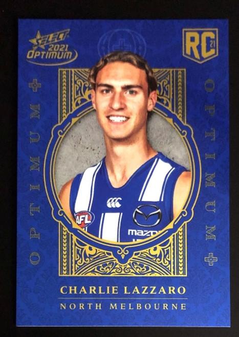 2021 AFL SELECT OPTIMUM PLUS North Melbourne Kangaroos CHARLIE LAZZARD Rookie Card OP199