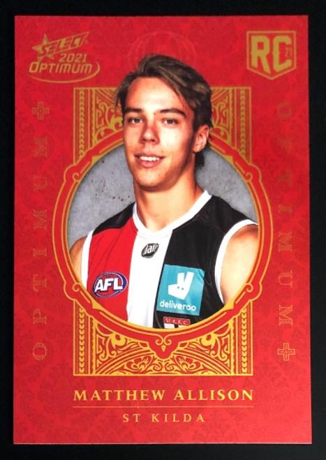 2021 AFL SELECT OPTIMUM PLUS St Kilda Saints MATTHEW ALLISON Rookie Card OP189