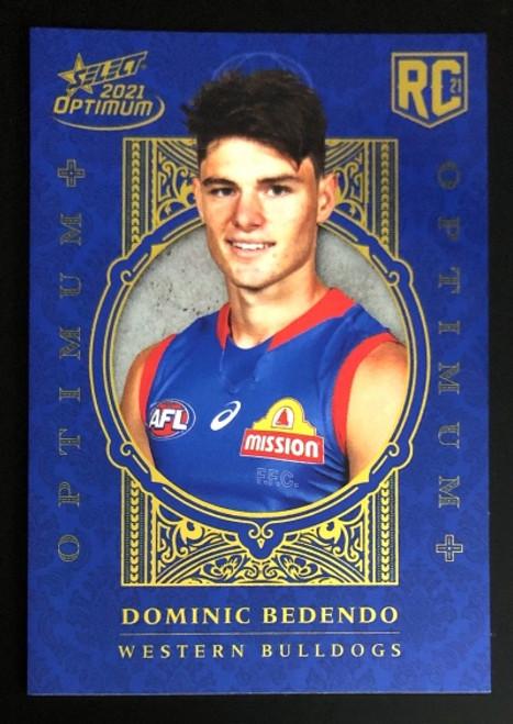 2021 AFL SELECT OPTIMUM PLUS Western Bulldogs DOMINIC BEDENDO Rookie Card OP218