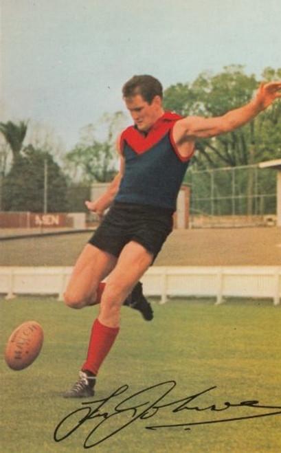 1965 Mobil Football Photos Card TASSIE JOHNSON Melbourne Demons