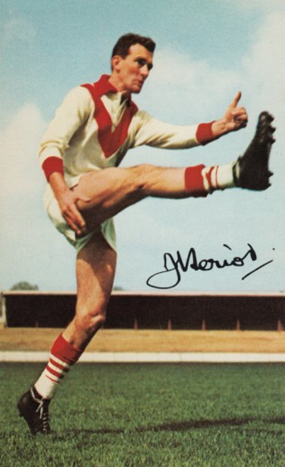 1965 Mobil Football Photos Card JOHN HERIOT South Melbourne Swans