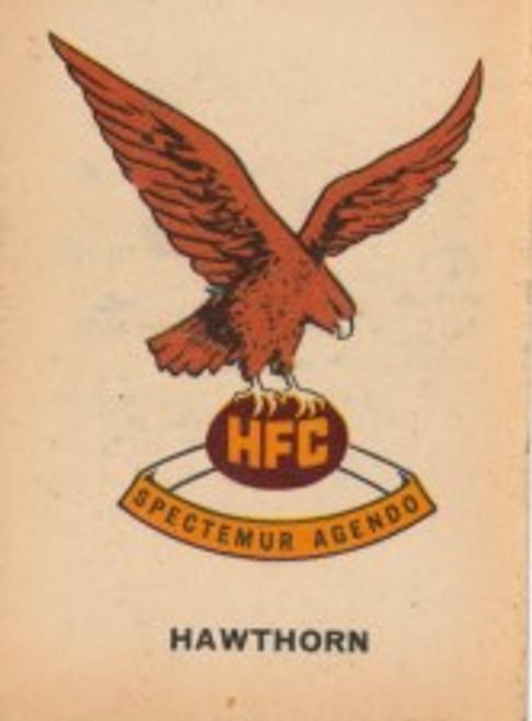1968 TWISTIES HAWTHORN HAWKS EMBLEM CARD