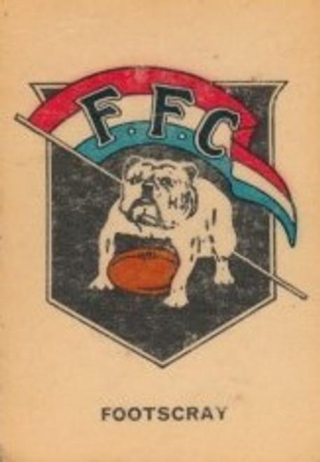 1968 TWISTIES FOOTSCRAY BULLDOGS EMBLEM CARD