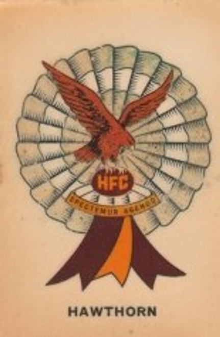 1968 TWISTIES HAWTHORN HAWKS ROSETTE CARD