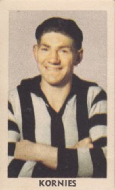 1949 Kornies Victorian Footballers #074 N MANN Collingwood Magpies Card