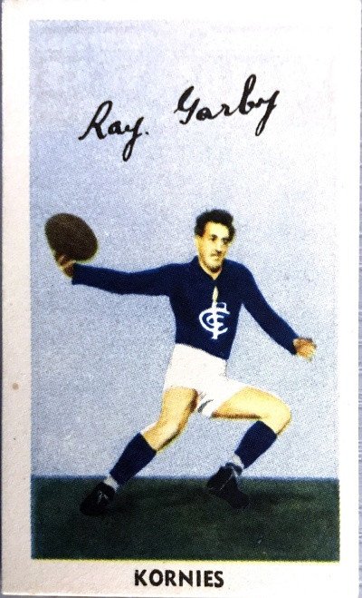 1951 Kornies Footballers In Action Carlton Blues R GARBY Card