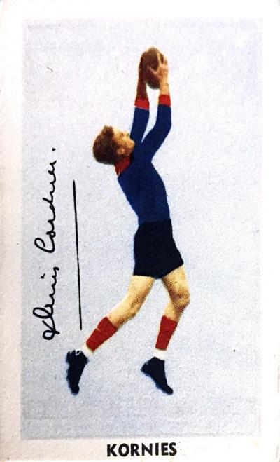 1951 Kornies Footballers In Action Melbourne Demons D CORDNER Card