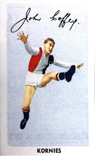 1951 Kornies Footballers in Action St Kilda Saints J COFFEY Card