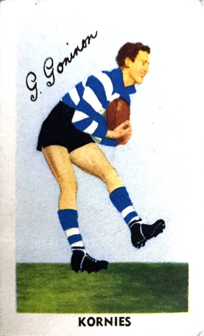 1952 Kornies Footballers In Action Geelong Cats G GONINON Card