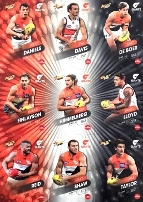 2020 AFL Footy Stars Greater Western Sydney Jigsaw Team Set