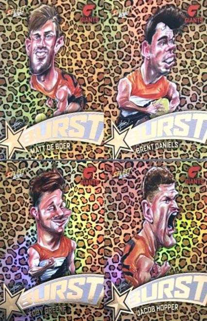 2020 AFL Footy Stars Greater Western Sydney Giants Leopard Starburst Set