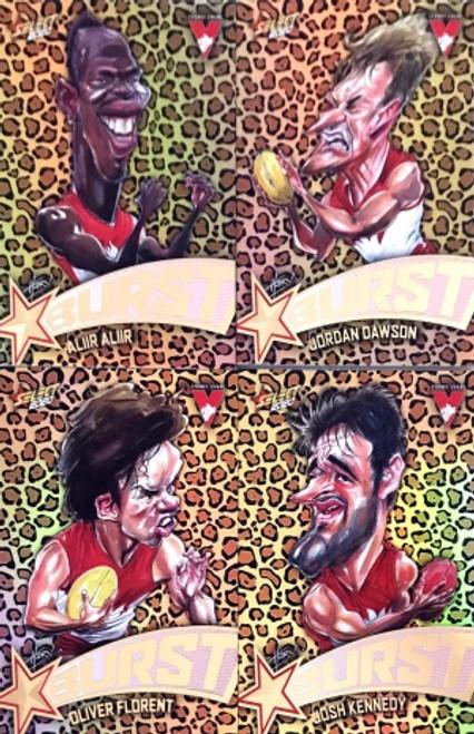 2020 AFL Footy Stars Sydney Swans Leopard Starburst Set